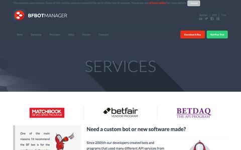 Screenshot of Services Page bfbotmanager.com - Services and bespoke development - captured Nov. 29, 2016