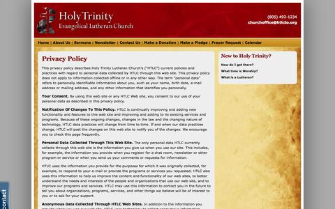Screenshot of Privacy Page htlcto.org - Privacy Policy - Holy Trinity Lutheran Church - captured Oct. 3, 2014