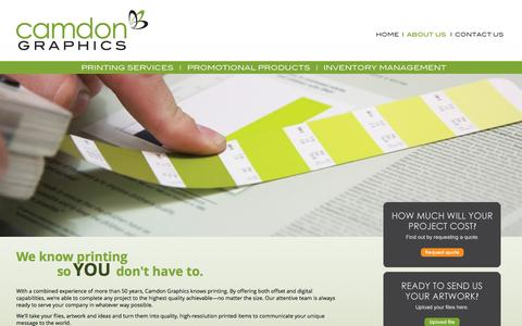 Screenshot of About Page camdongraphics.com - About Us | Full Range Offset and Digital Printing in Houston Texas - Camdon Graphics - captured Dec. 7, 2015