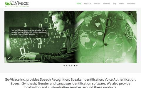 Screenshot of Home Page govivace.com - GoVivace-Automatic Speech Recognition|Voice to Text|Speaker Identification - captured Jan. 30, 2016