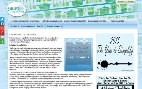 Screenshot of Testimonials Page sabrinasorganizing.com - testimonials - captured Oct. 20, 2015