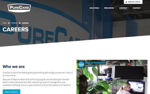 Screenshot of Jobs Page purecars.com - Careers & Open Positions | Company | PureCars Digital Solutions - captured Dec. 6, 2017