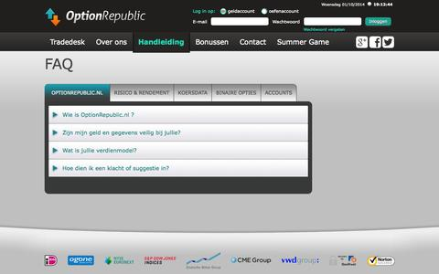 Screenshot of FAQ Page optionrepublic.nl - Overzicht veelgestelde vragen - OptionRepublic.nl - captured Oct. 1, 2014