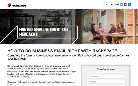 Screenshot of Landing Page rackspace.com - How to Do Business Email Right - captured May 22, 2018