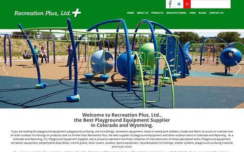 Screenshot of Home Page recreationplus.com - Home - Recreation Plus Colorado and WyomingRecreation Plus Colorado and Wyoming | Your Number One Choice for Playgrounds - captured Oct. 18, 2018