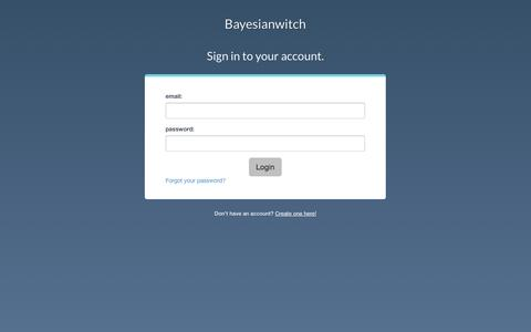 Screenshot of Login Page bayesianwitch.com captured Sept. 19, 2014