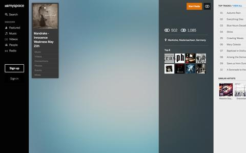 Screenshot of Home Page myspace.com - Mandrake - Innocence Weakness May 21th | Listen and  Stream Free Music, Albums, New Releases, Photos, Videos - captured Oct. 8, 2015