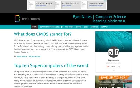 Screenshot of Home Page byte-notes.com - Byte-Notes | The Computer Science learning platform - captured Jan. 20, 2016