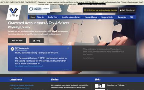 Screenshot of Home Page twpaccounting.co.uk - TWP Accounting   Chartered Accountants & Tax Advisers in Weybridge, Surrey - captured Oct. 19, 2018