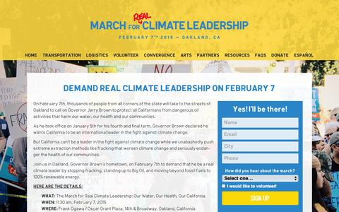 Screenshot of Home Page marchforclimateleadership.org - I'm marching for real climate leadership in February. You should too. - captured Jan. 26, 2015