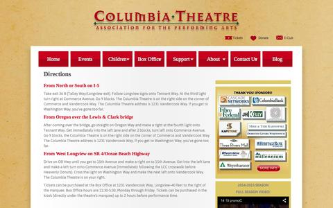 Screenshot of Maps & Directions Page columbiatheatre.com - Columbia Theatre Association For The Performing Arts - Directions - captured Sept. 30, 2014