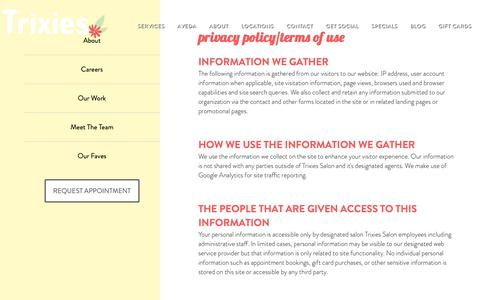 Screenshot of Privacy Page Terms Page trixiessalon.com - Privacy Policy and Terms of Use | Trixies Salon | Des Moines, IA - captured Oct. 20, 2018