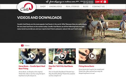 Screenshot of Press Page cavallo-inc.com - Videos and Downloads | Horse Boots, Hoof Boots, Saddle Pads & Equipment - captured Oct. 2, 2014