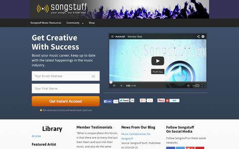 Screenshot of Home Page Site Map Page songstuff.com - Songstuff Music Industry Resource — Songstuff - captured Sept. 19, 2014