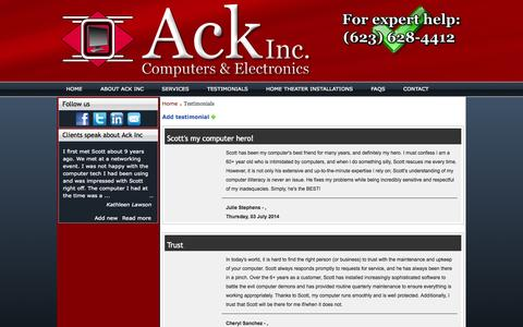 Screenshot of Testimonials Page ackinccomputers.com - Customer reviews of Ack Inc Computers, Phoenix - captured Oct. 4, 2014