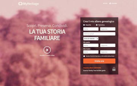 Screenshot of Home Page myheritage.it - MyHeritage - Albero genealogico gratuito - Genealogia e storia di Famiglia - captured Sept. 18, 2014