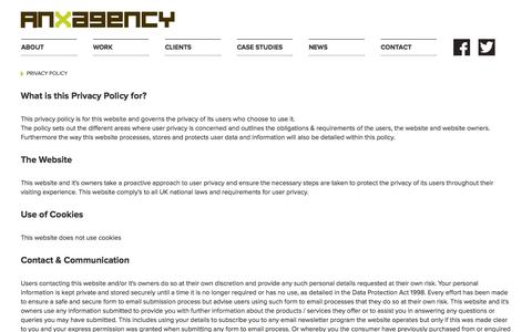 Screenshot of Privacy Page anxagency.com - About An.x Agency, marketing and design in wiltshire. - captured Oct. 4, 2014