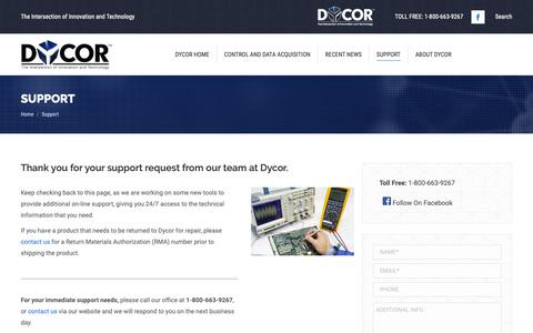 Screenshot of Support Page dycor.com - Support - Dycor - captured Dec. 19, 2018