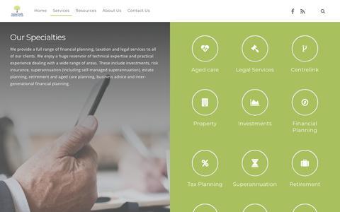 Screenshot of Services Page pracwealth.com.au - Services | Practical Wealth - captured Sept. 28, 2018