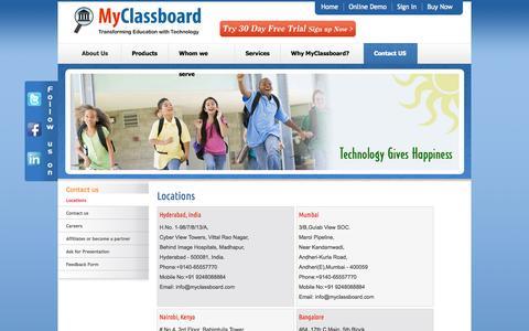 Screenshot of Locations Page myclassboard.com - MyClassboard educational solutions pvt ltd - captured Oct. 26, 2014
