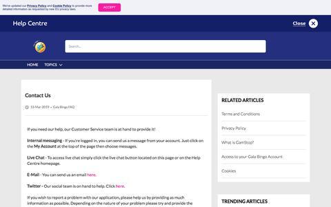 Screenshot of Contact Page galabingo.com - Contact Us - Gala Bingo - captured Sept. 14, 2019