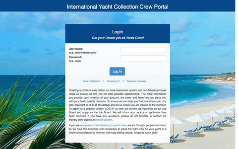 Screenshot of Login Page iyc.com - IYC Crew - captured Feb. 11, 2016