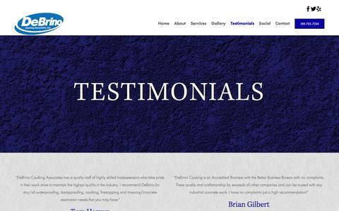 Screenshot of Testimonials Page debrino.com - Testimonials - Debrino Caulking Associates, Inc - captured Nov. 24, 2016