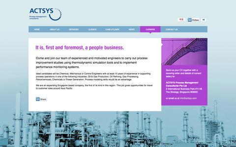 Screenshot of Jobs Page actsys.com - ACTSYS Process Management Consultants - captured Oct. 4, 2014