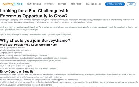 Screenshot of Jobs Page surveygizmo.com - Careers - SurveyGizmo - captured Oct. 4, 2019