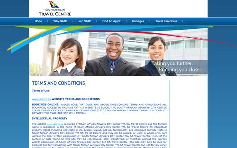 Screenshot of Terms Page satravelcentre.com - South African Travel Centre - captured Oct. 1, 2014