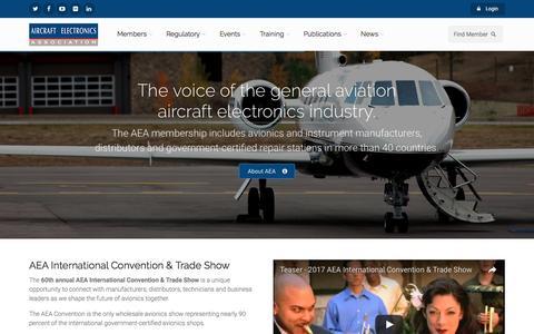 Screenshot of Home Page aea.net - The Aircraft Electronics Association - captured Nov. 20, 2016