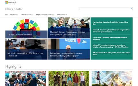 Screenshot of Press Page microsoft.com - News Center | News, perspectives and press materials from Microsoft on news and events affecting the company and the tech industry in general. - captured Oct. 26, 2014
