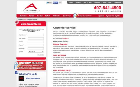 Screenshot of Support Page allensportswear.com - Customer Service   Allen Sportswear - captured Oct. 4, 2014