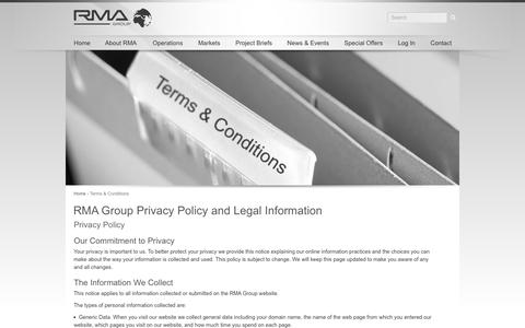 Screenshot of Terms Page rmagroup.net - Terms & Conditions | RMA Group - captured Nov. 8, 2016