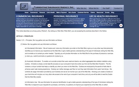 Screenshot of Privacy Page turrentine.com - Privacy Policy - Turrentine Insurance Agency, Inc. - captured Oct. 7, 2014