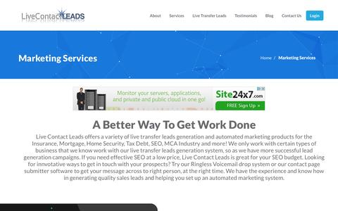 Screenshot of Services Page livecontactleads.com - Live Transfer Leads Services - Livecontactleads.com - captured May 20, 2017