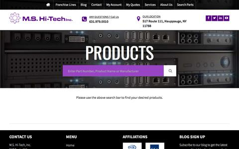 Screenshot of Products Page mshi-tech.com - Products Archive - M.S. Hi-Tech - captured Sept. 19, 2017