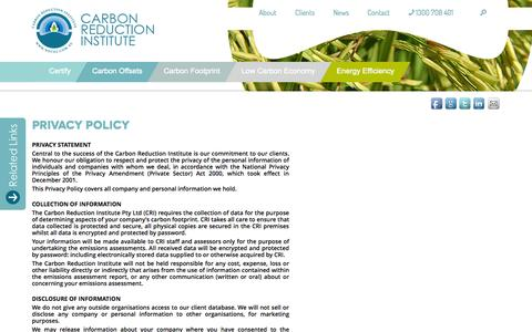 Screenshot of Privacy Page noco2.com.au - Privacy and Terms & Conditions | Carbon Reduction Institute - captured Oct. 27, 2014