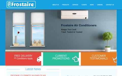 Screenshot of Home Page frostaire.com - Frostaire.com | Home | Sri Lanka's Leading Air Conditioning Solutions Provider - captured Sept. 11, 2015