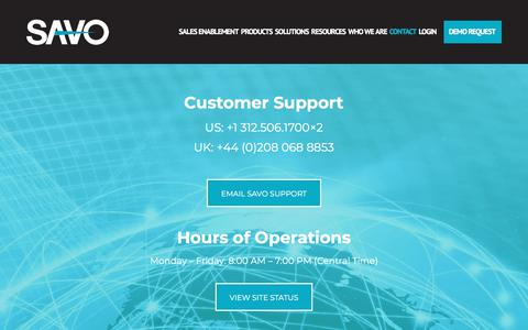 Screenshot of Support Page savogroup.com - Contact SAVO Customer Support - captured Nov. 18, 2017