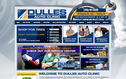 Screenshot of Home Page dullesautoclinic.com - Dulles Auto Clinic :: Sterling VA Tires & Auto Repair Shop - captured Oct. 5, 2014