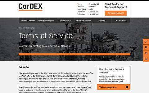 Screenshot of Terms Page cord-ex.com - Terms of Service - Cordex - captured Nov. 21, 2017