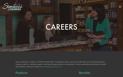 Screenshot of Jobs Page signaturessalon.biz - Careers — - captured May 27, 2017