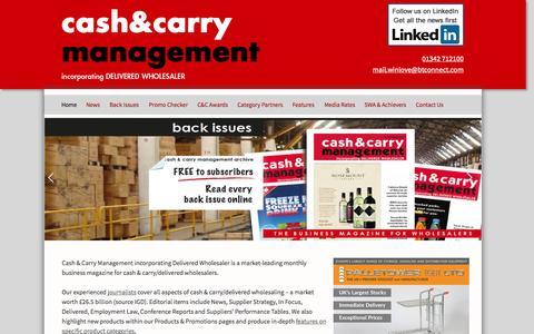 Screenshot of Home Page cashandcarrymanagement.co.uk - Cash & Carry Management Magazine incorporating Delivered Wholesaler - captured Oct. 2, 2014