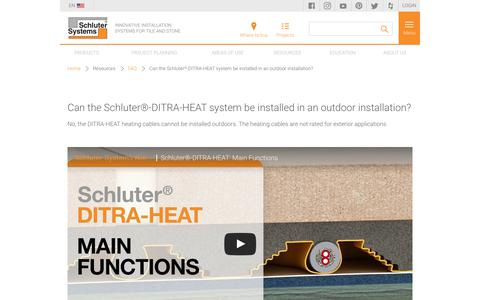 Screenshot of FAQ Page schluter.com - Can the Schluter®-DITRA-HEAT system be installed in an outdoor installation? | schluter.com - captured Feb. 20, 2020
