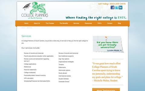 Screenshot of Services Page sccollegeplanners.com - College Planning Services Mt. Pleasant and Charleston    College Planners of South Carolina - captured Sept. 29, 2018