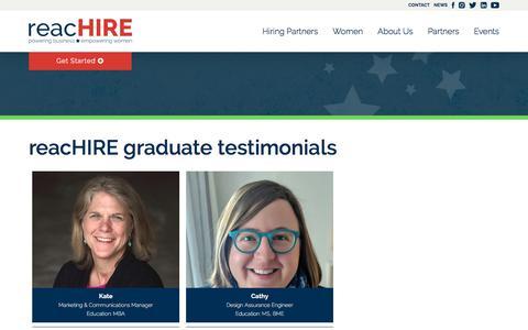 Screenshot of Testimonials Page reachire.com - Testimonials From reacHIRE Graduates - captured June 18, 2018