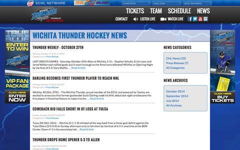Screenshot of Press Page wichitathunder.com - News - Wichita Thunder Hockey - captured Oct. 29, 2014