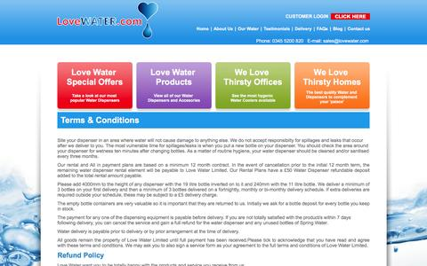 Screenshot of Terms Page lovewater.com - Terms & Conditions - Love Water - captured Nov. 12, 2016