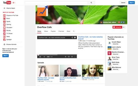 Screenshot of YouTube Page youtube.com - Overflow Cafe  - YouTube - captured Oct. 22, 2014